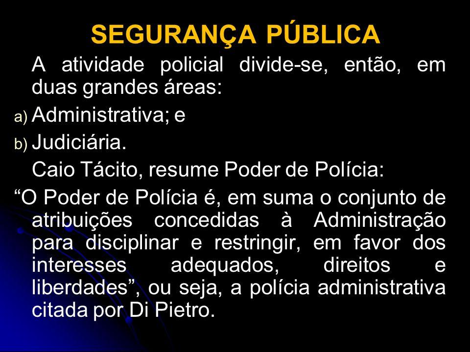 SEGURANÇA PÚBLICA A atividade policial divide-se, então, em duas grandes áreas: a) a) Administrativa; e b) b) Judiciária. Caio Tácito, resume Poder de