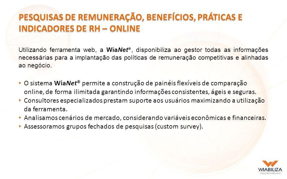Utilizando ferramenta web, a WiaNet ®, disponibiliza ao gestor todas as informações necessárias para a implantação das políticas de remuneração competitivas e alinhadas ao negócio.