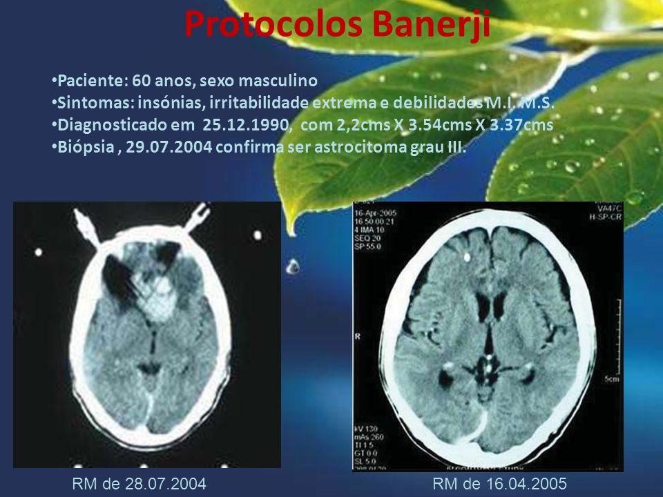 Protocolos Banerji Paciente: 60 anos, sexo masculino Sintomas: insónias, irritabilidade extrema e debilidades M.I. M.S. Diagnosticado em 25.12.1990, c