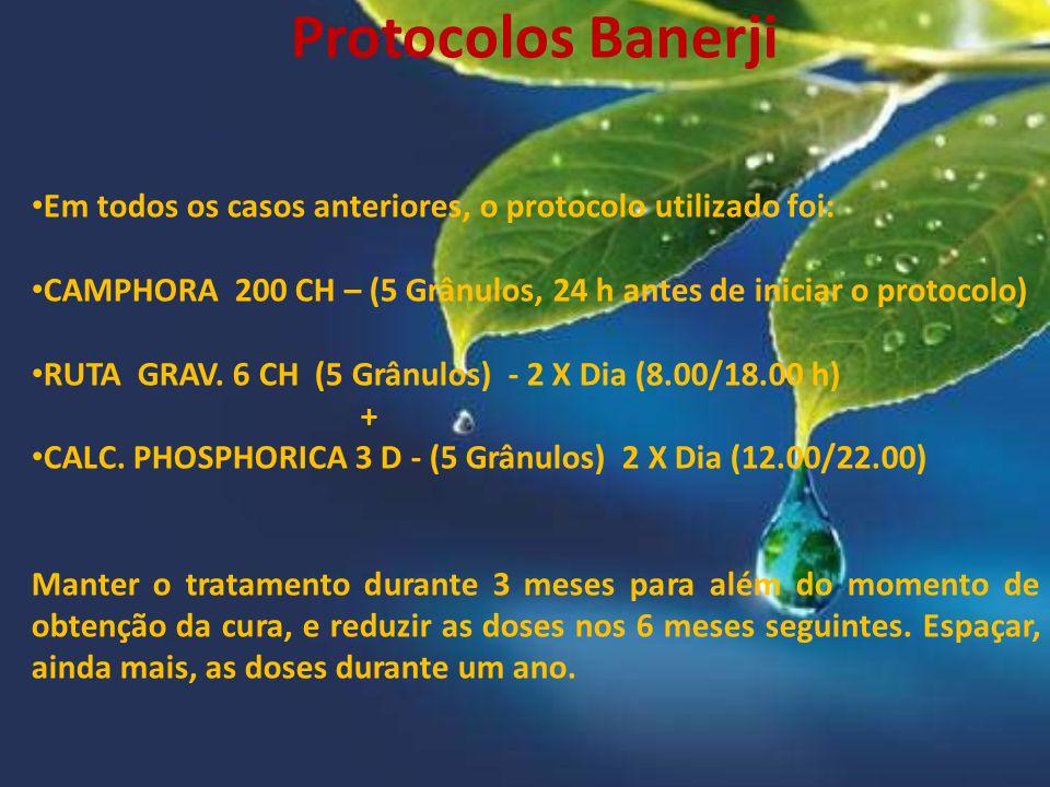 Protocolos Banerji Em todos os casos anteriores, o protocolo utilizado foi: CAMPHORA 200 CH – (5 Grânulos, 24 h antes de iniciar o protocolo) RUTA GRA