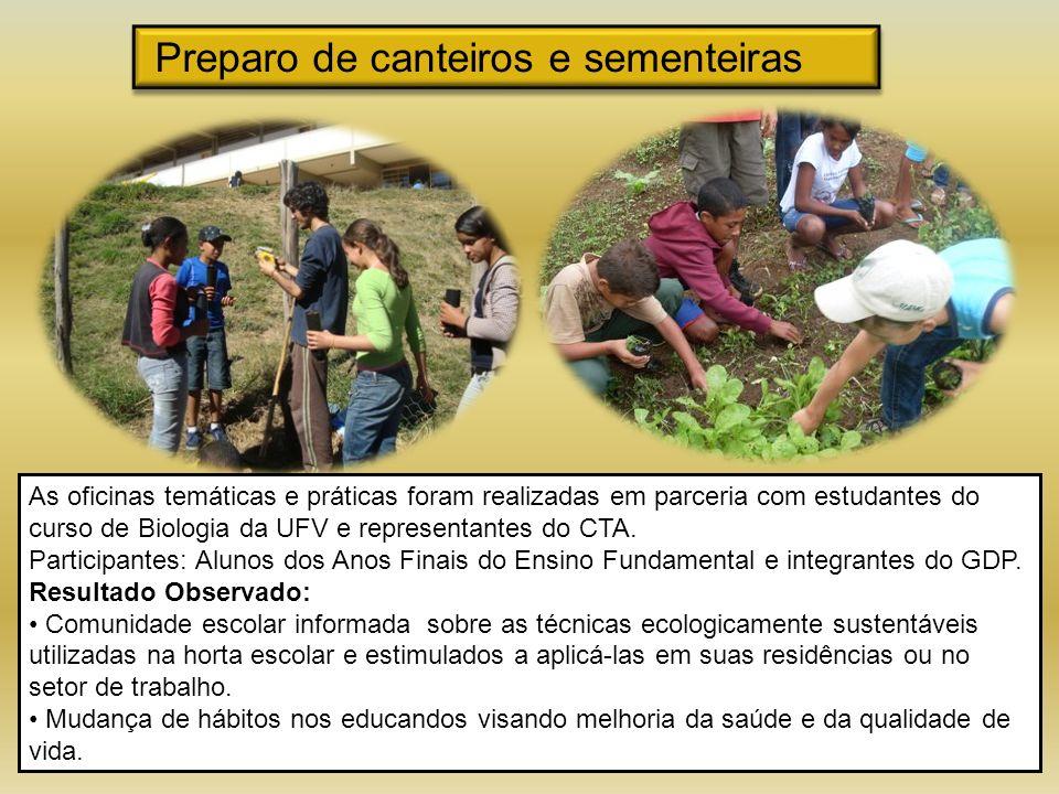 Preparo de canteiros e sementeiras As oficinas temáticas e práticas foram realizadas em parceria com estudantes do curso de Biologia da UFV e represen