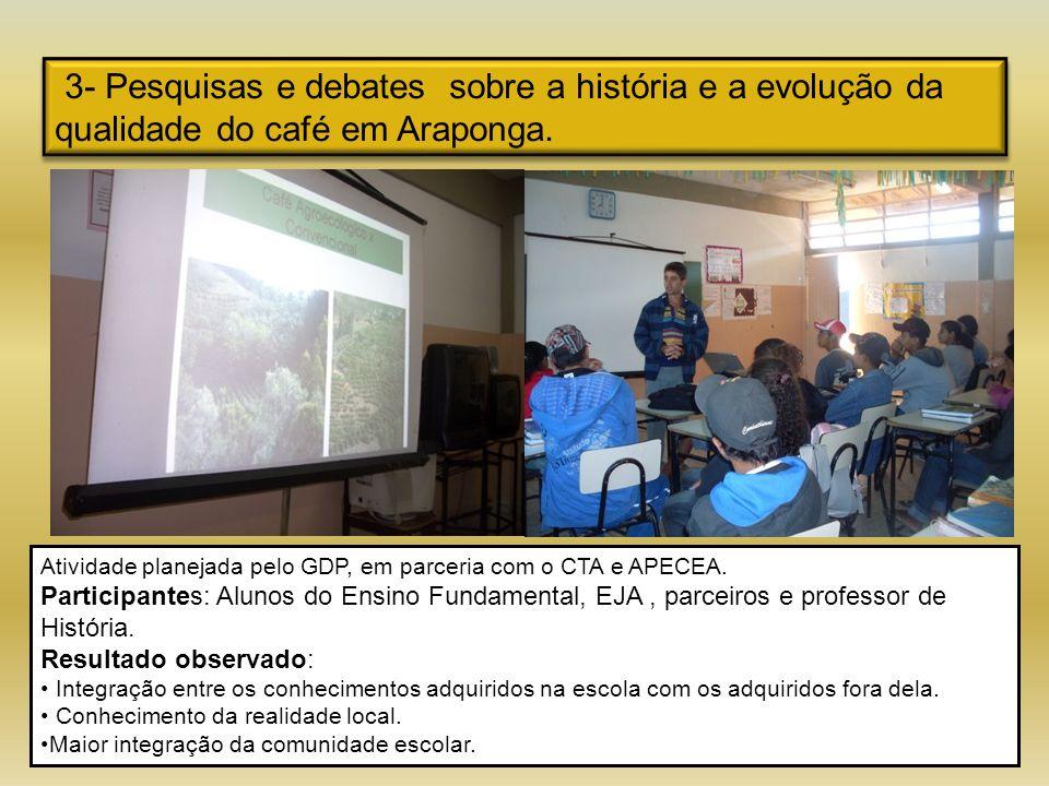 3- Pesquisas e debates sobre a história e a evolução da qualidade do café em Araponga. Atividade planejada pelo GDP, em parceria com o CTA e APECEA. P