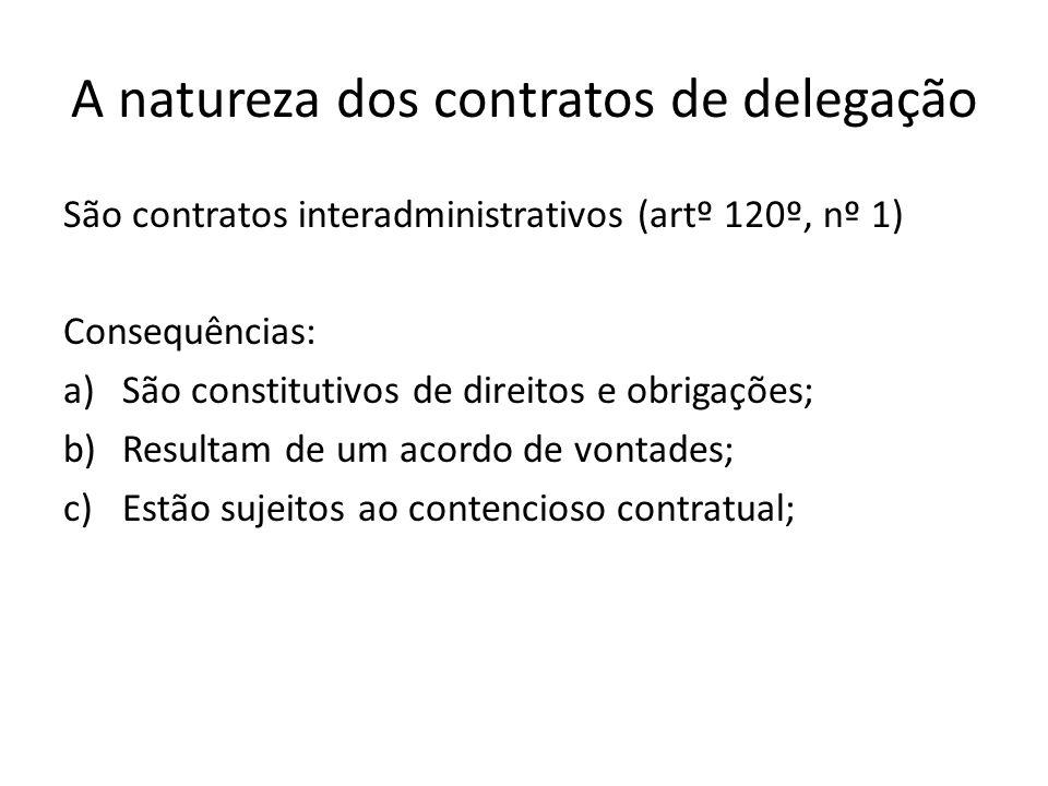A natureza dos contratos de delegação São contratos interadministrativos (artº 120º, nº 1) Consequências: a)São constitutivos de direitos e obrigações