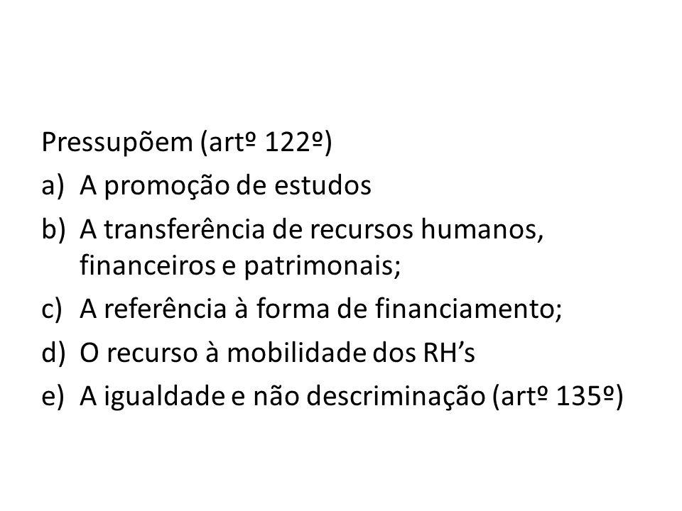 Pressupõem (artº 122º) a)A promoção de estudos b)A transferência de recursos humanos, financeiros e patrimonais; c)A referência à forma de financiamen