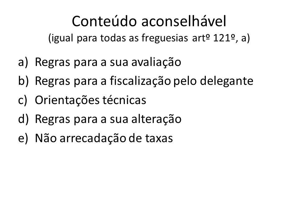Conteúdo aconselhável (igual para todas as freguesias artº 121º, a) a)Regras para a sua avaliação b)Regras para a fiscalização pelo delegante c)Orient