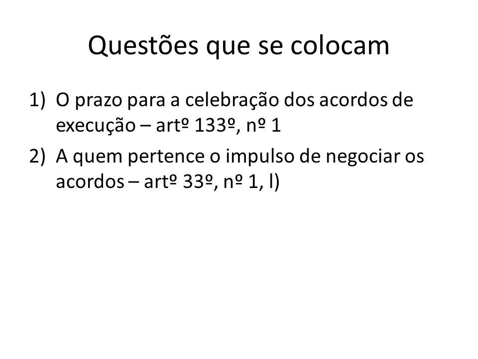 Questões que se colocam 1)O prazo para a celebração dos acordos de execução – artº 133º, nº 1 2)A quem pertence o impulso de negociar os acordos – art