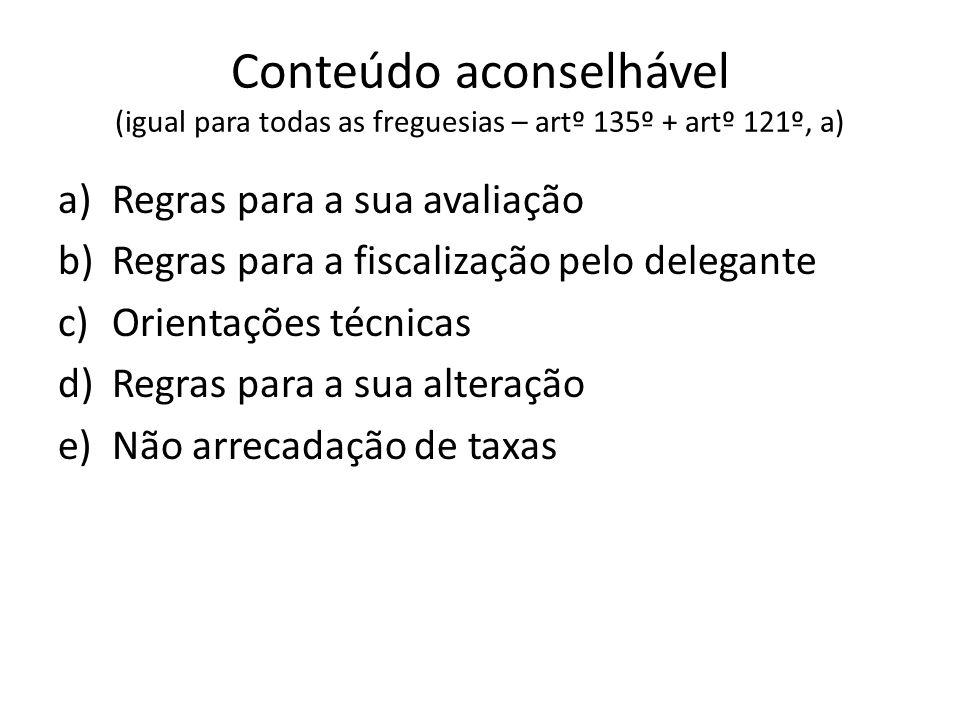 Conteúdo aconselhável (igual para todas as freguesias – artº 135º + artº 121º, a) a)Regras para a sua avaliação b)Regras para a fiscalização pelo dele