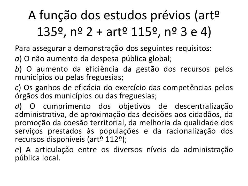 A função dos estudos prévios (artº 135º, nº 2 + artº 115º, nº 3 e 4) Para assegurar a demonstração dos seguintes requisitos: a) O não aumento da despe
