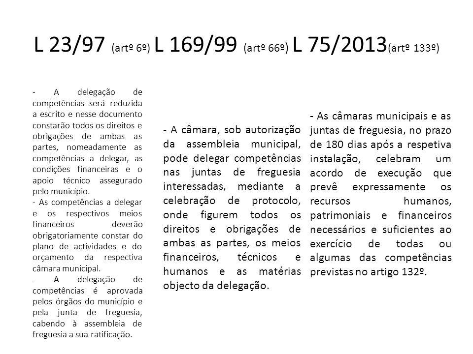 L 23/97 (artº 6º) L 169/99 (artº 66º ) L 75/2013 (artº 133º) - A delegação de competências será reduzida a escrito e nesse documento constarão todos o