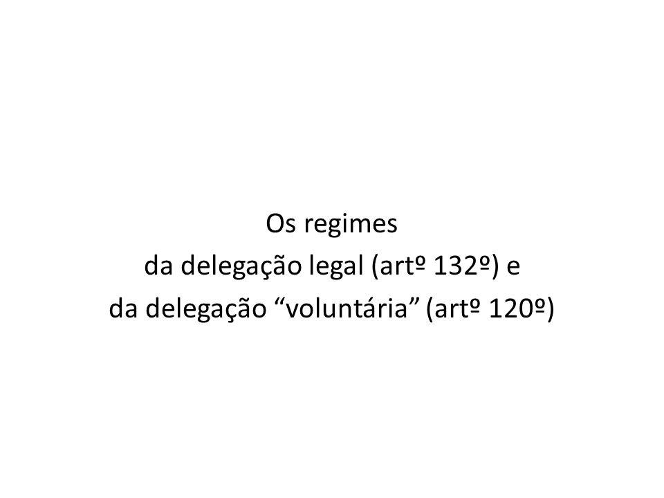 -A delegação voluntária está sujeita ao regime dos contratos de delegação – artº 120º - A delegação legal está sujeita ao regime dos acordos de execução – artº 133º, nº 1
