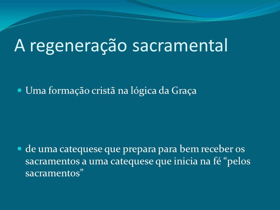 A regeneração sacramental Uma formação cristã na lógica da Graça de uma catequese que prepara para bem receber os sacramentos a uma catequese que inic