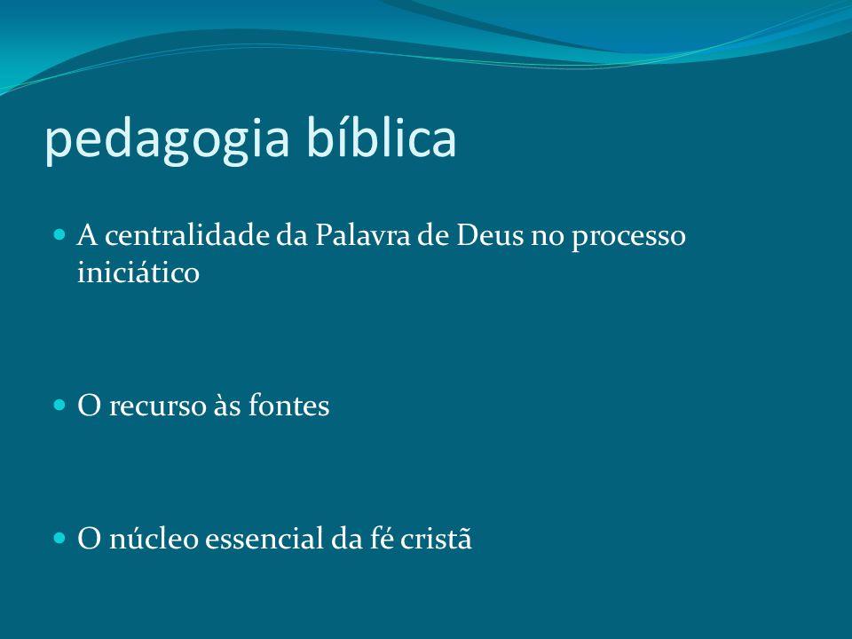 pedagogia bíblica A centralidade da Palavra de Deus no processo iniciático O recurso às fontes O núcleo essencial da fé cristã