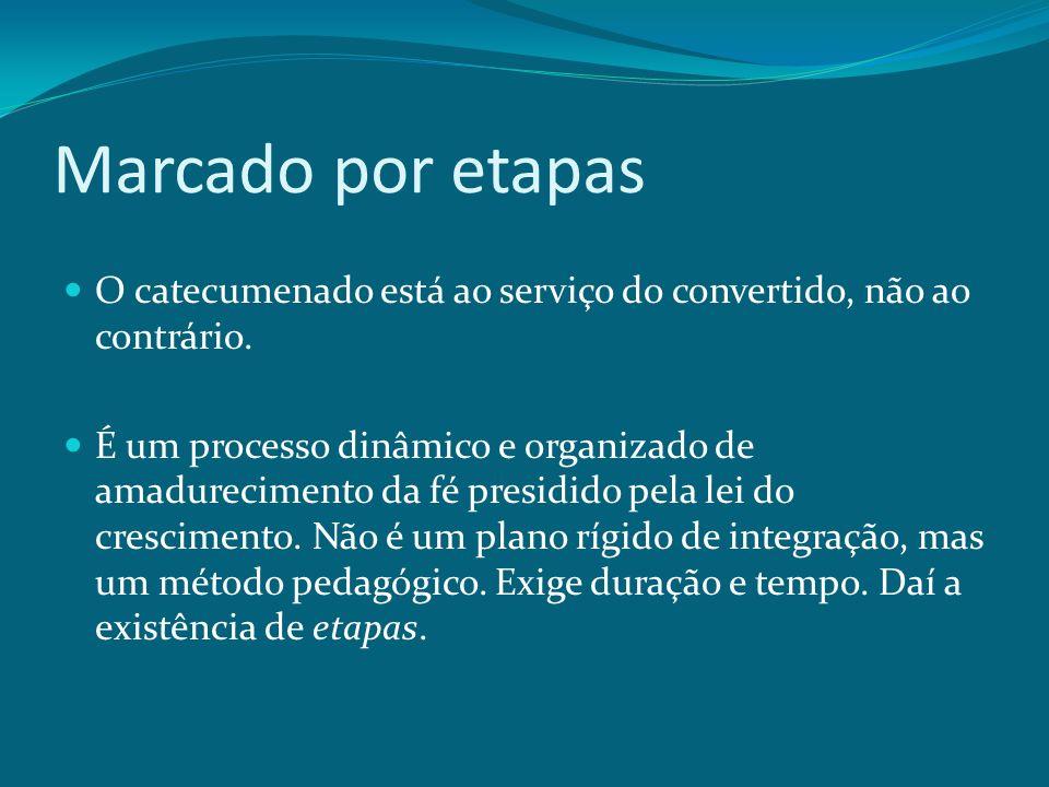 Marcado por etapas O catecumenado está ao serviço do convertido, não ao contrário. É um processo dinâmico e organizado de amadurecimento da fé presidi