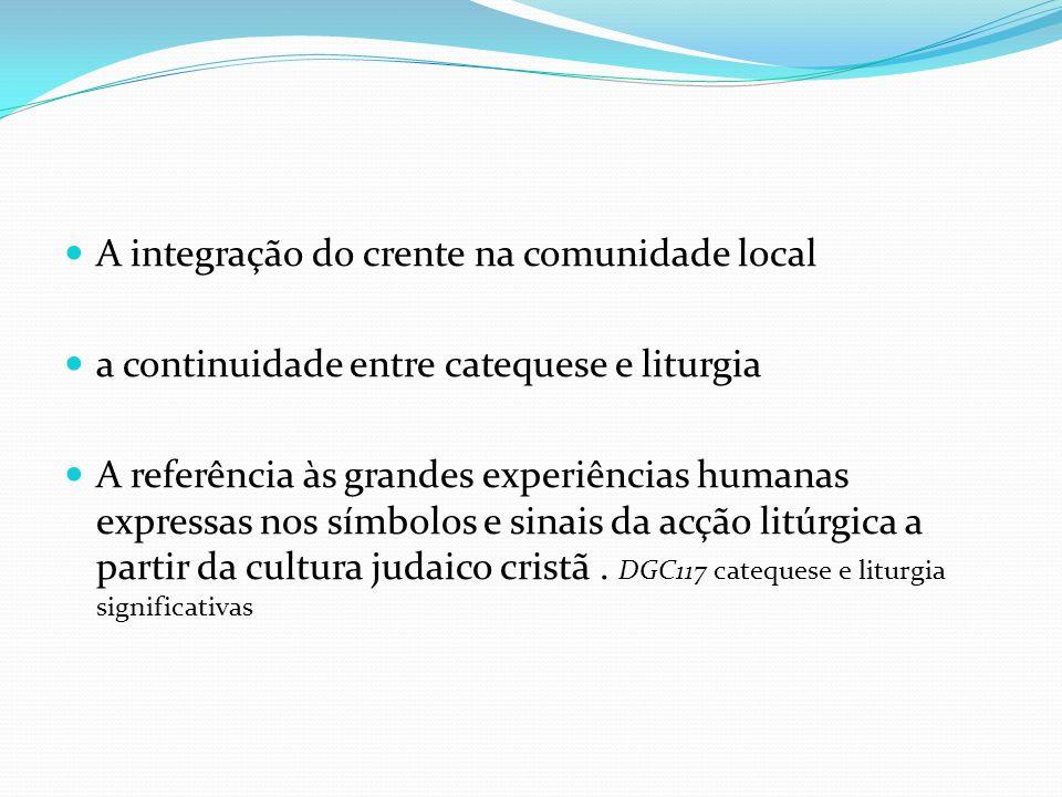 A integração do crente na comunidade local a continuidade entre catequese e liturgia A referência às grandes experiências humanas expressas nos símbol