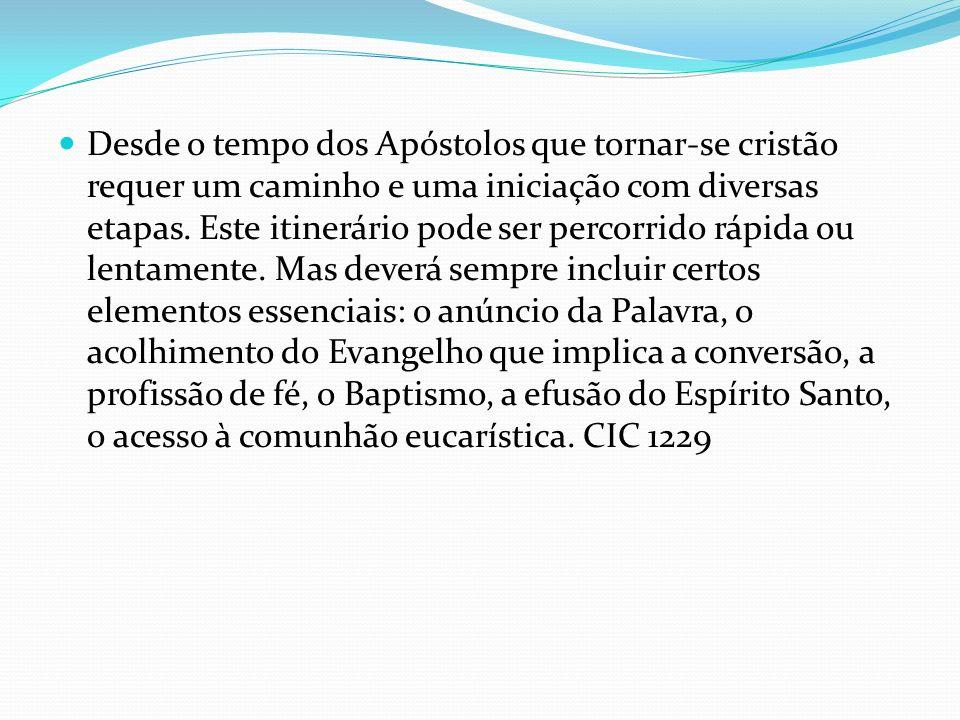 Desde o tempo dos Apóstolos que tornar-se cristão requer um caminho e uma iniciação com diversas etapas. Este itinerário pode ser percorrido rápida ou