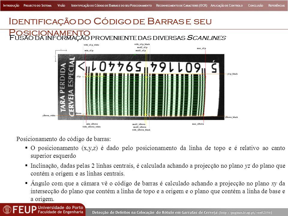 I DENTIFICAÇÃO DO C ÓDIGO DE B ARRAS E SEU P OSICIONAMENTO F USÃO DA INFORMAÇÃO PROVENIENTE DAS DIVERSAS S CANLINES Posicionamento do código de barras