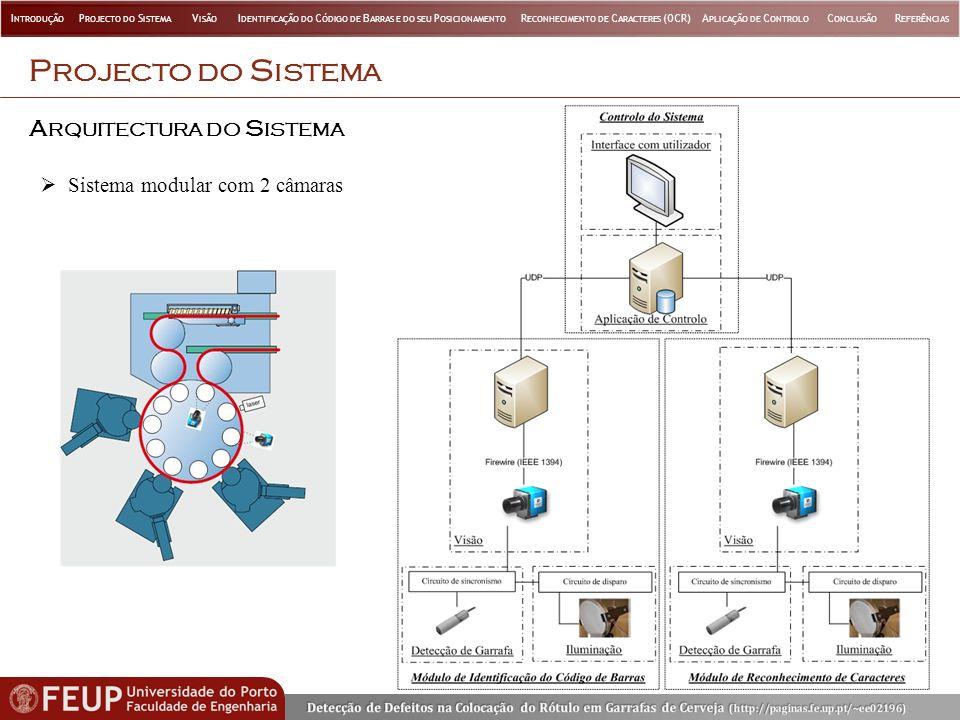 A RQUITECTURA DO S ISTEMA P ROJECTO DO S ISTEMA Sistema modular com 2 câmaras I NTRODUÇÃO P ROJECTO DO S ISTEMA V ISÃO I DENTIFICAÇÃO DO C ÓDIGO DE B ARRAS E DO SEU P OSICIONAMENTO R ECONHECIMENTO DE C ARACTERES (OCR)A PLICAÇÃO DE C ONTROLO C ONCLUSÃO R EFERÊNCIAS