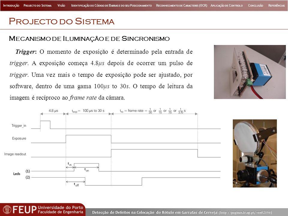 C ALIBRAÇÃO DOS P ARÂMETROS DE T RANSFORMAÇÃO V ISÃO Parâmetros de calibração da câmara: Rotação da câmara em relação ao sistema de coordenadas do mundo (rotX, rotY, rotZ) Distância focal equivalente (EqDist) Pontos usados na calibração: I NTRODUÇÃO P ROJECTO DO S ISTEMA V ISÃO I DENTIFICAÇÃO DO C ÓDIGO DE B ARRAS E DO SEU P OSICIONAMENTO R ECONHECIMENTO DE C ARACTERES (OCR)A PLICAÇÃO DE C ONTROLO C ONCLUSÃO R EFERÊNCIAS