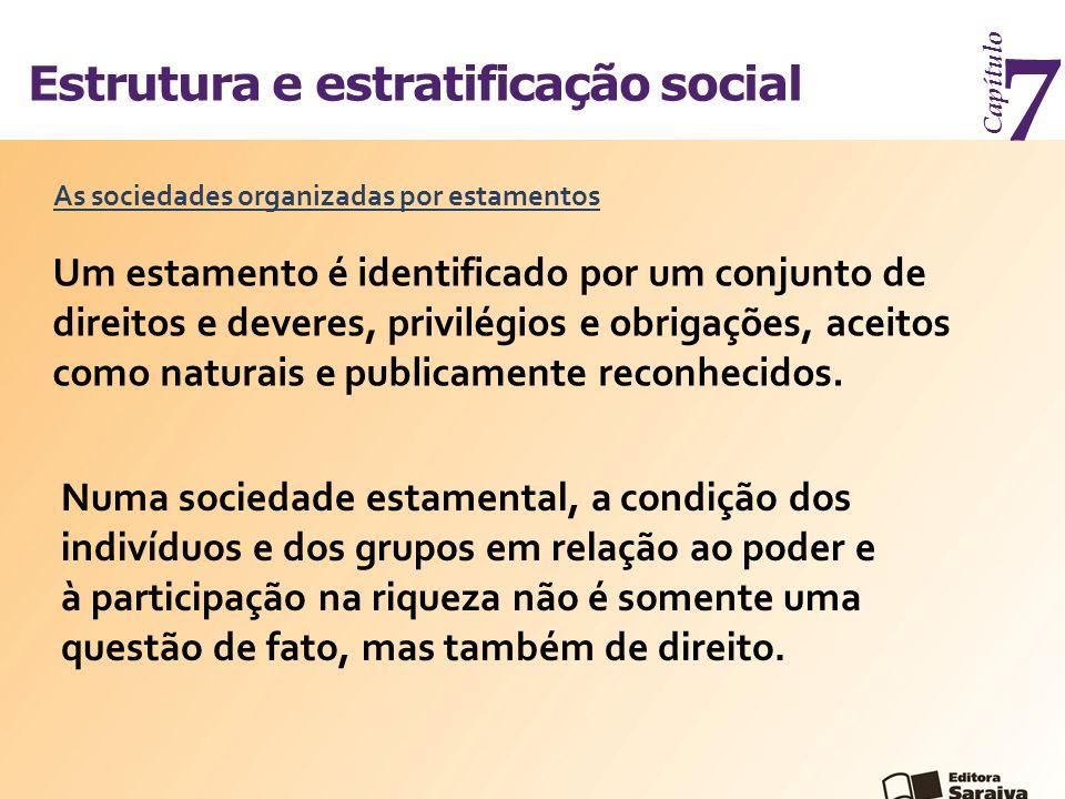 Estrutura e estratificação social Capítulo 7 As sociedades organizadas por estamentos Um estamento é identificado por um conjunto de direitos e devere
