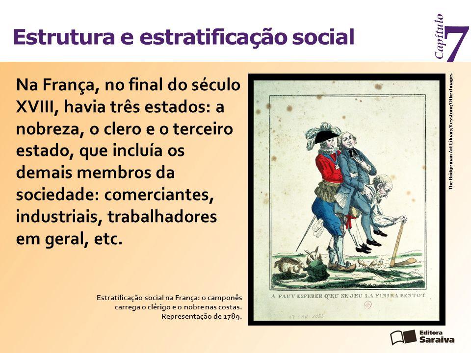 Estrutura e estratificação social Capítulo 7 Na França, no final do século XVIII, havia três estados: a nobreza, o clero e o terceiro estado, que incl