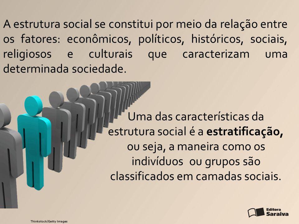 A estrutura social se constitui por meio da relação entre os fatores: econômicos, políticos, históricos, sociais, religiosos e culturais que caracteri