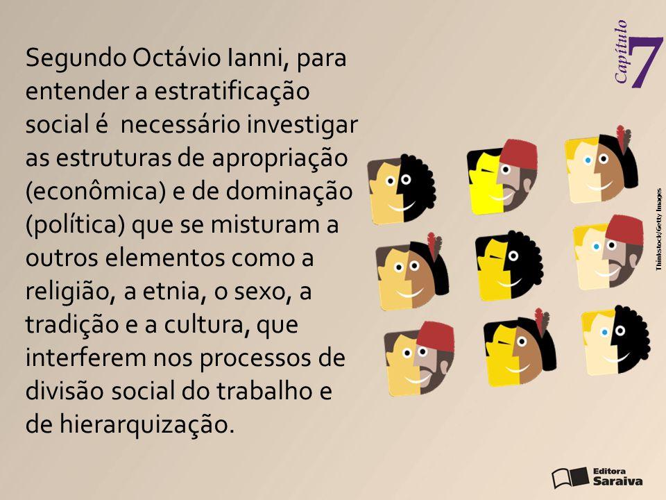 Capítulo 7 Segundo Octávio Ianni, para entender a estratificação social é necessário investigar as estruturas de apropriação (econômica) e de dominaçã