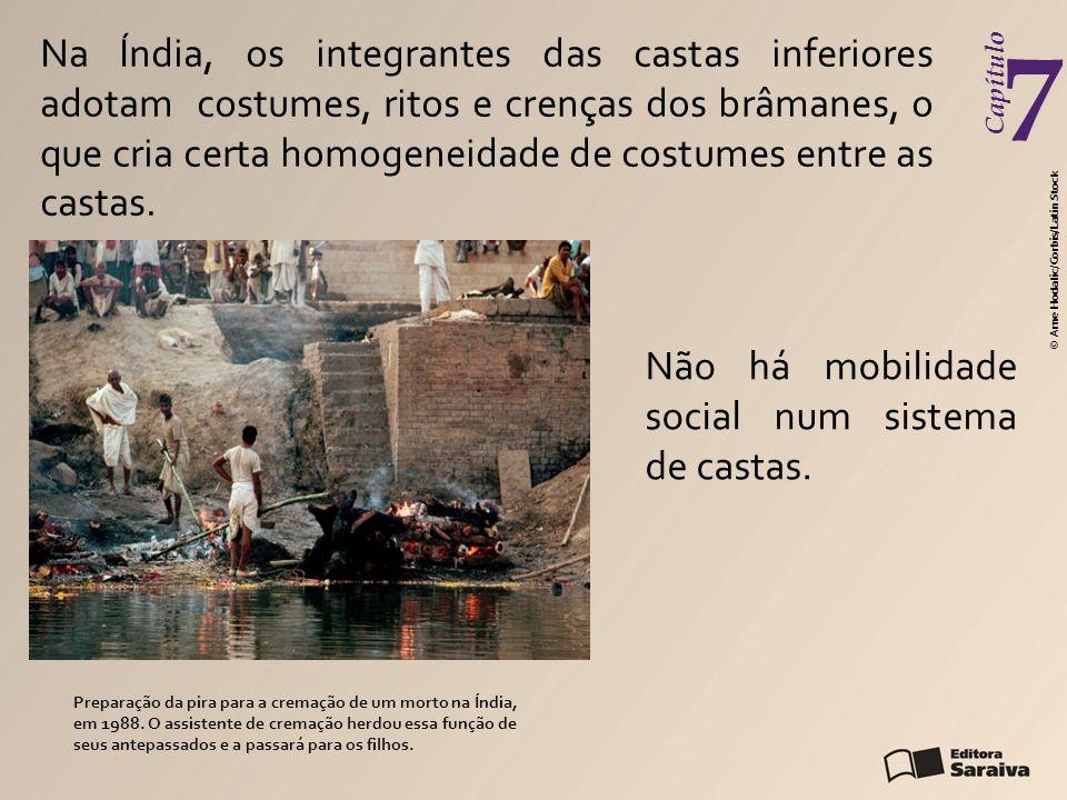 Capítulo 7 Não há mobilidade social num sistema de castas. Preparação da pira para a cremação de um morto na Índia, em 1988. O assistente de cremação