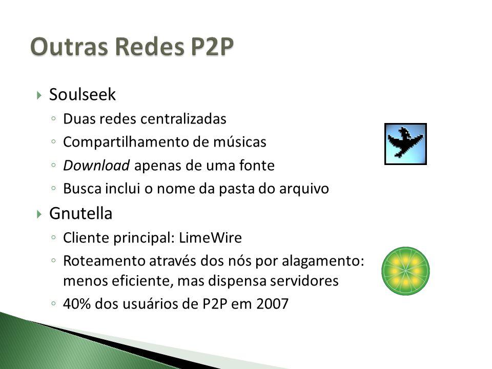 Soulseek Duas redes centralizadas Compartilhamento de músicas Download apenas de uma fonte Busca inclui o nome da pasta do arquivo Gnutella Cliente principal: LimeWire Roteamento através dos nós por alagamento: menos eficiente, mas dispensa servidores 40% dos usuários de P2P em 2007