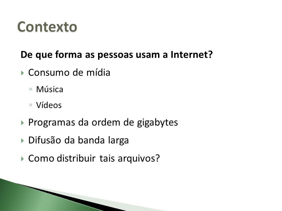De que forma as pessoas usam a Internet? Consumo de mídia Música Vídeos Programas da ordem de gigabytes Difusão da banda larga Como distribuir tais ar