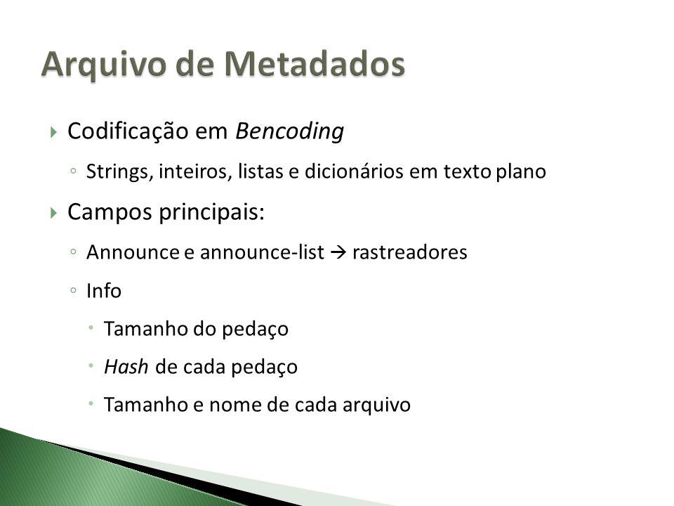 Codificação em Bencoding Strings, inteiros, listas e dicionários em texto plano Campos principais: Announce e announce-list rastreadores Info Tamanho do pedaço Hash de cada pedaço Tamanho e nome de cada arquivo