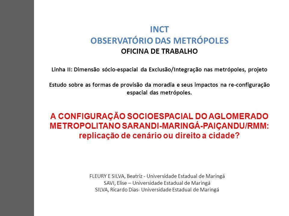 INCT OBSERVATÓRIO DAS METRÓPOLES OFICINA DE TRABALHO Linha II: Dimensão sócio-espacial da Exclusão/Integração nas metrópoles, projeto Estudo sobre as formas de provisão da moradia e seus impactos na re-configuração espacial das metrópoles.