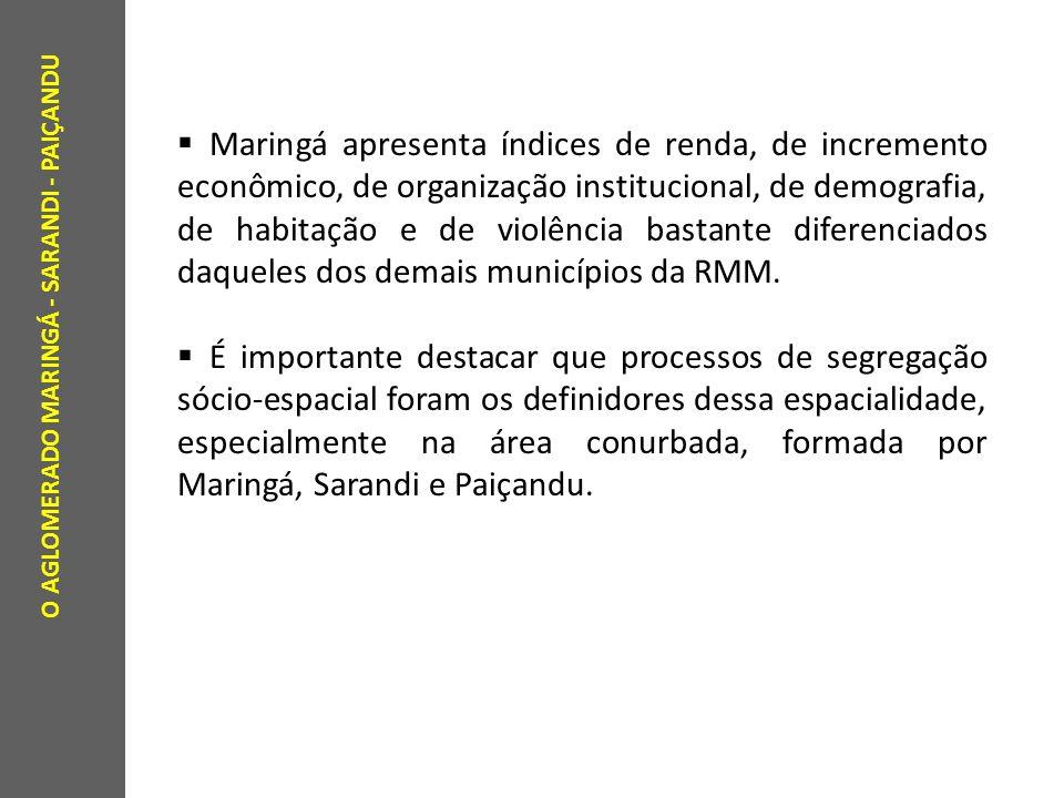 O AGLOMERADO MARINGÁ - SARANDI - PAIÇANDU Maringá apresenta índices de renda, de incremento econômico, de organização institucional, de demografia, de habitação e de violência bastante diferenciados daqueles dos demais municípios da RMM.