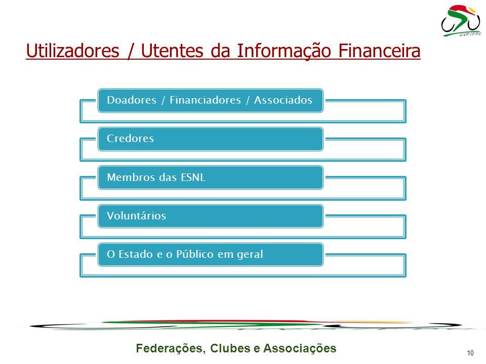 Federações, Clubes e Associações Doadores / Financiadores / AssociadosCredoresMembros das ESNL Voluntários O Estado e o Público em geral Utilizadores / Utentes da Informação Financeira 10