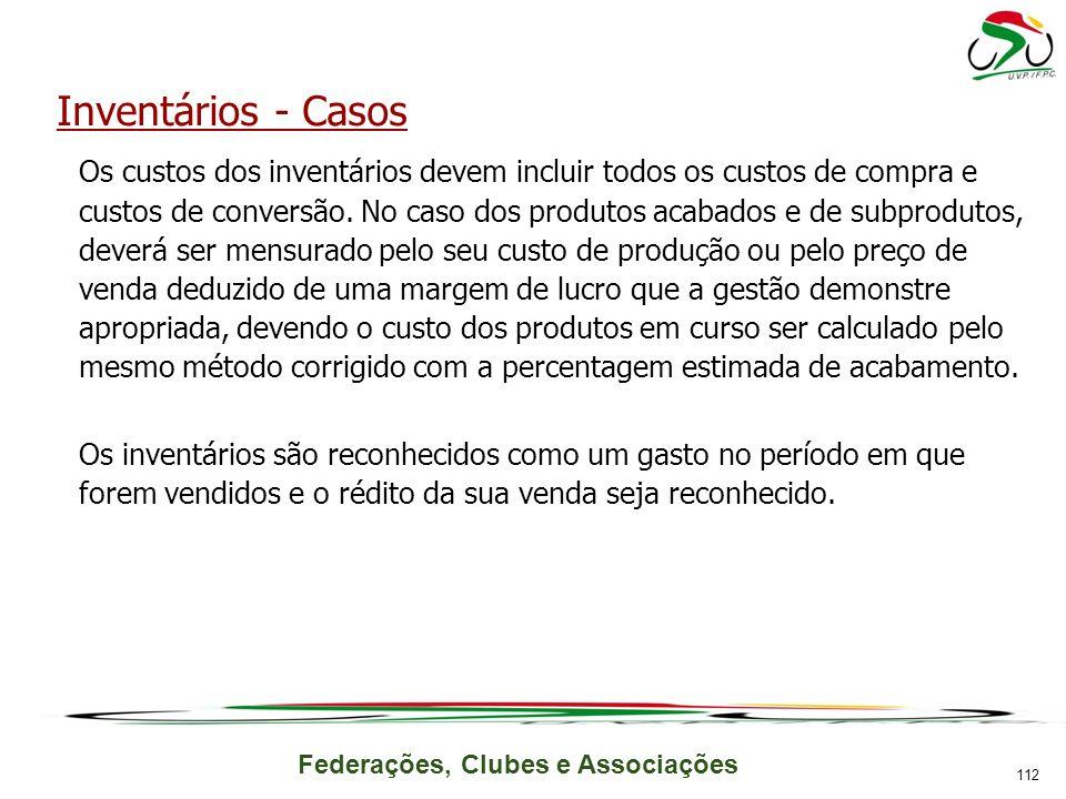 Federações, Clubes e Associações Inventários - Casos Os custos dos inventários devem incluir todos os custos de compra e custos de conversão.