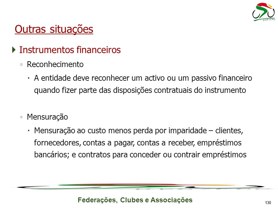 Federações, Clubes e Associações Instrumentos financeiros Reconhecimento A entidade deve reconhecer um activo ou um passivo financeiro quando fizer pa