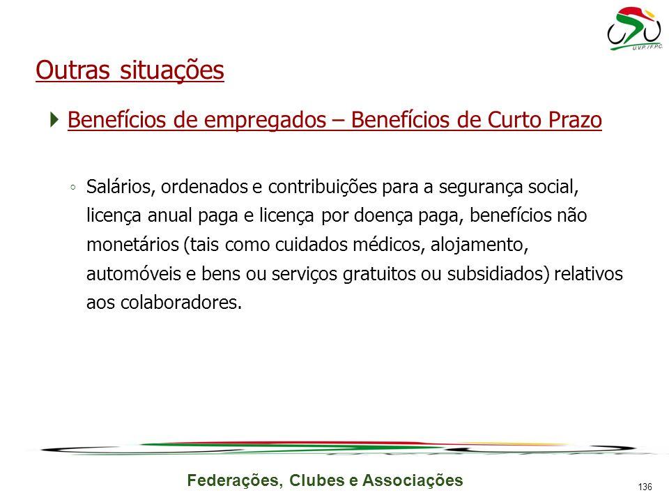 Federações, Clubes e Associações Outras situações Benefícios de empregados – Benefícios de Curto Prazo Salários, ordenados e contribuições para a segu