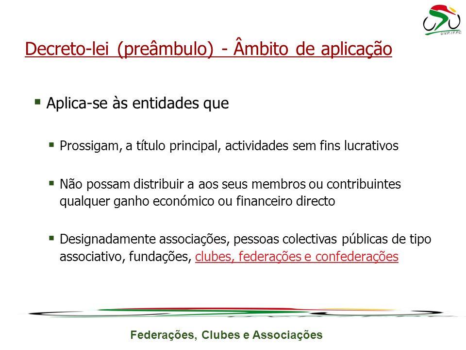 Federações, Clubes e Associações Aplica-se às entidades que Prossigam, a título principal, actividades sem fins lucrativos Não possam distribuir a aos