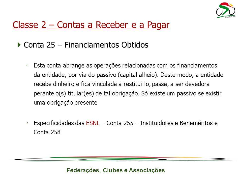 Federações, Clubes e Associações Conta 25 – Financiamentos Obtidos Esta conta abrange as operações relacionadas com os financiamentos da entidade, por via do passivo (capital alheio).