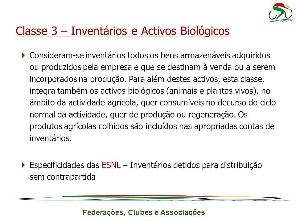 Federações, Clubes e Associações Consideram-se inventários todos os bens armazenáveis adquiridos ou produzidos pela empresa e que se destinam à venda ou a serem incorporados na produção.