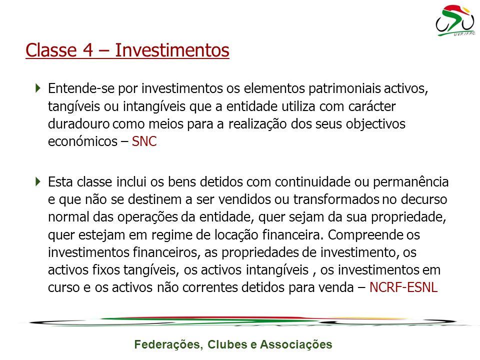 Federações, Clubes e Associações Entende-se por investimentos os elementos patrimoniais activos, tangíveis ou intangíveis que a entidade utiliza com c