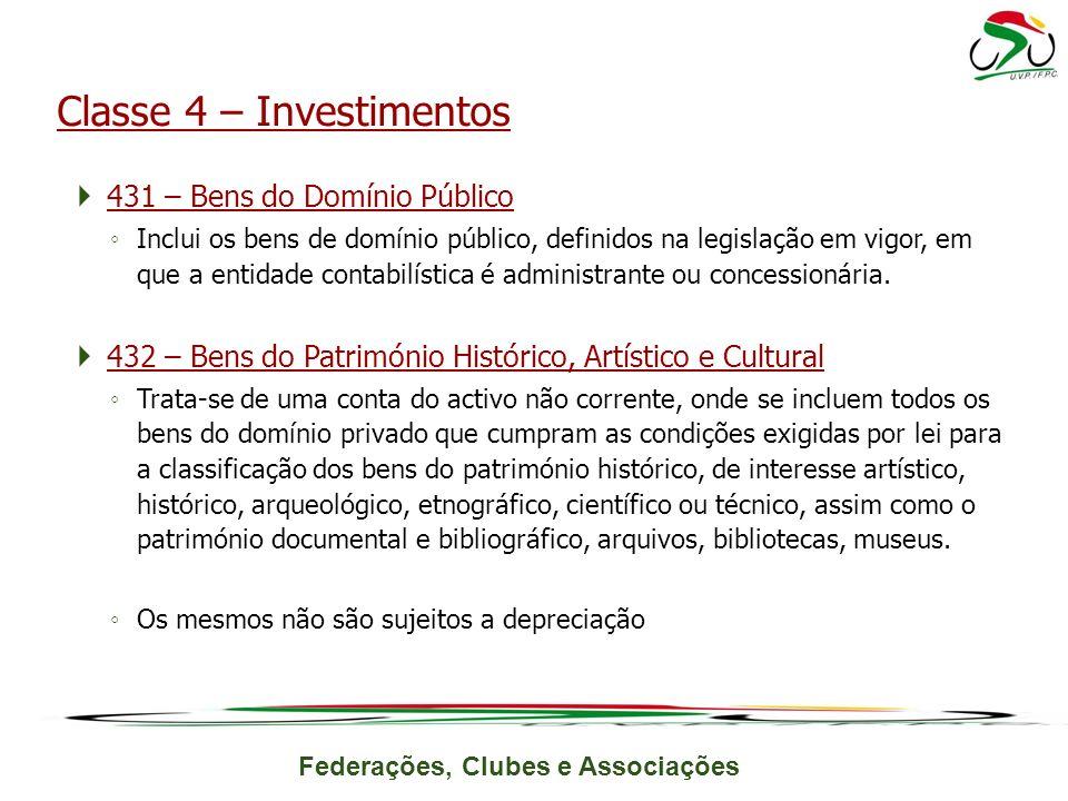 Federações, Clubes e Associações 431 – Bens do Domínio Público Inclui os bens de domínio público, definidos na legislação em vigor, em que a entidade contabilística é administrante ou concessionária.