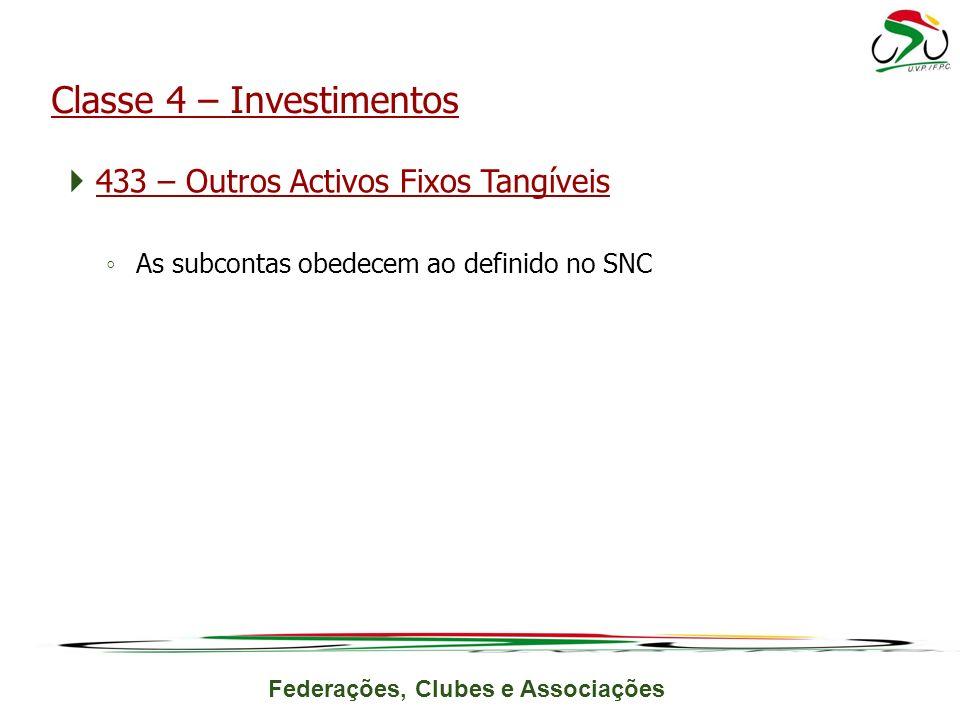 Federações, Clubes e Associações 433 – Outros Activos Fixos Tangíveis As subcontas obedecem ao definido no SNC Classe 4 – Investimentos