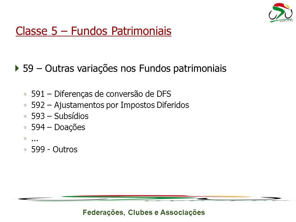 Federações, Clubes e Associações 59 – Outras variações nos Fundos patrimoniais 591 – Diferenças de conversão de DFS 592 – Ajustamentos por Impostos Diferidos 593 – Subsídios 594 – Doações...