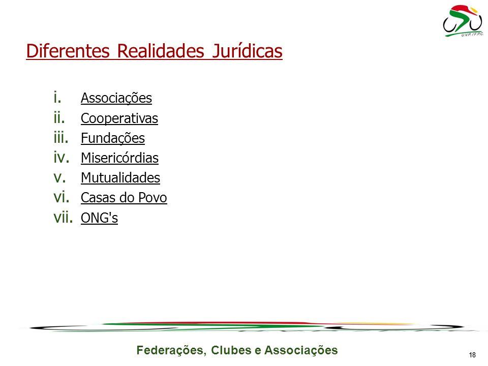 Federações, Clubes e Associações 18 Diferentes Realidades Jurídicas i. Associações ii. Cooperativas iii. Fundações iv. Misericórdias v. Mutualidades v