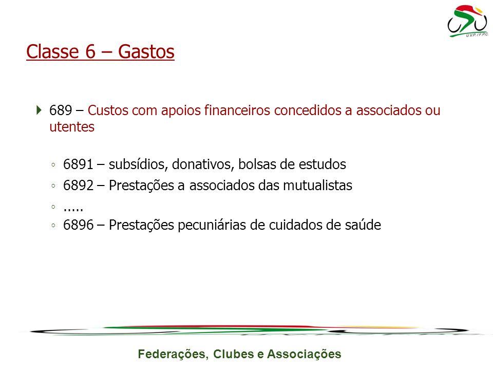 Federações, Clubes e Associações 689 – Custos com apoios financeiros concedidos a associados ou utentes 6891 – subsídios, donativos, bolsas de estudos 6892 – Prestações a associados das mutualistas.....