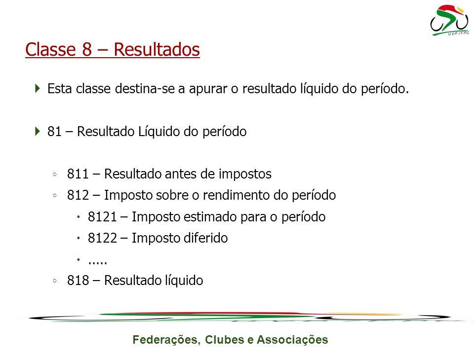 Federações, Clubes e Associações Esta classe destina-se a apurar o resultado líquido do período. 81 – Resultado Líquido do período 811 – Resultado ant