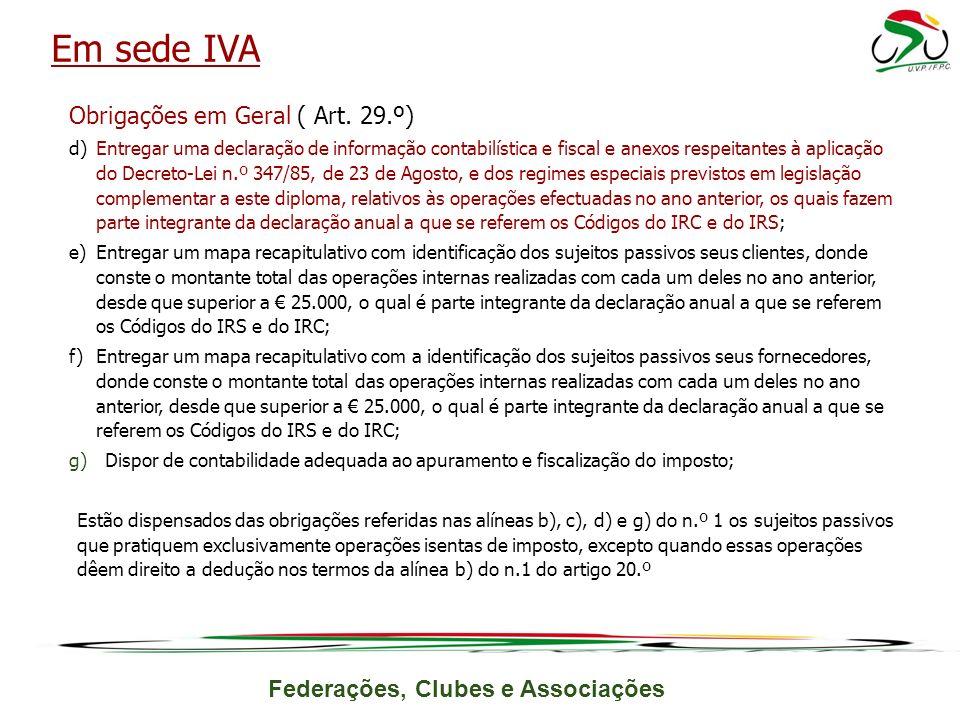 Federações, Clubes e Associações Obrigações em Geral ( Art.