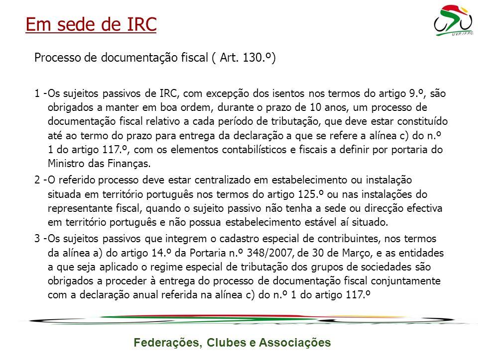 Federações, Clubes e Associações Processo de documentação fiscal ( Art.