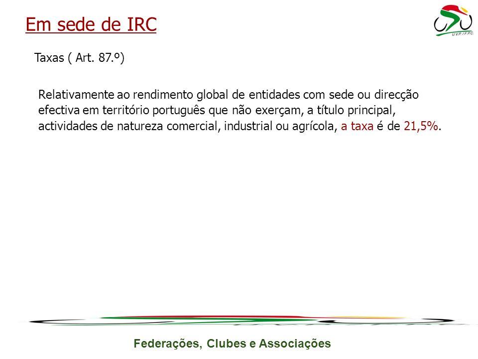 Federações, Clubes e Associações Taxas ( Art.