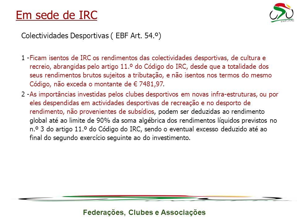 Federações, Clubes e Associações Colectividades Desportivas ( EBF Art.